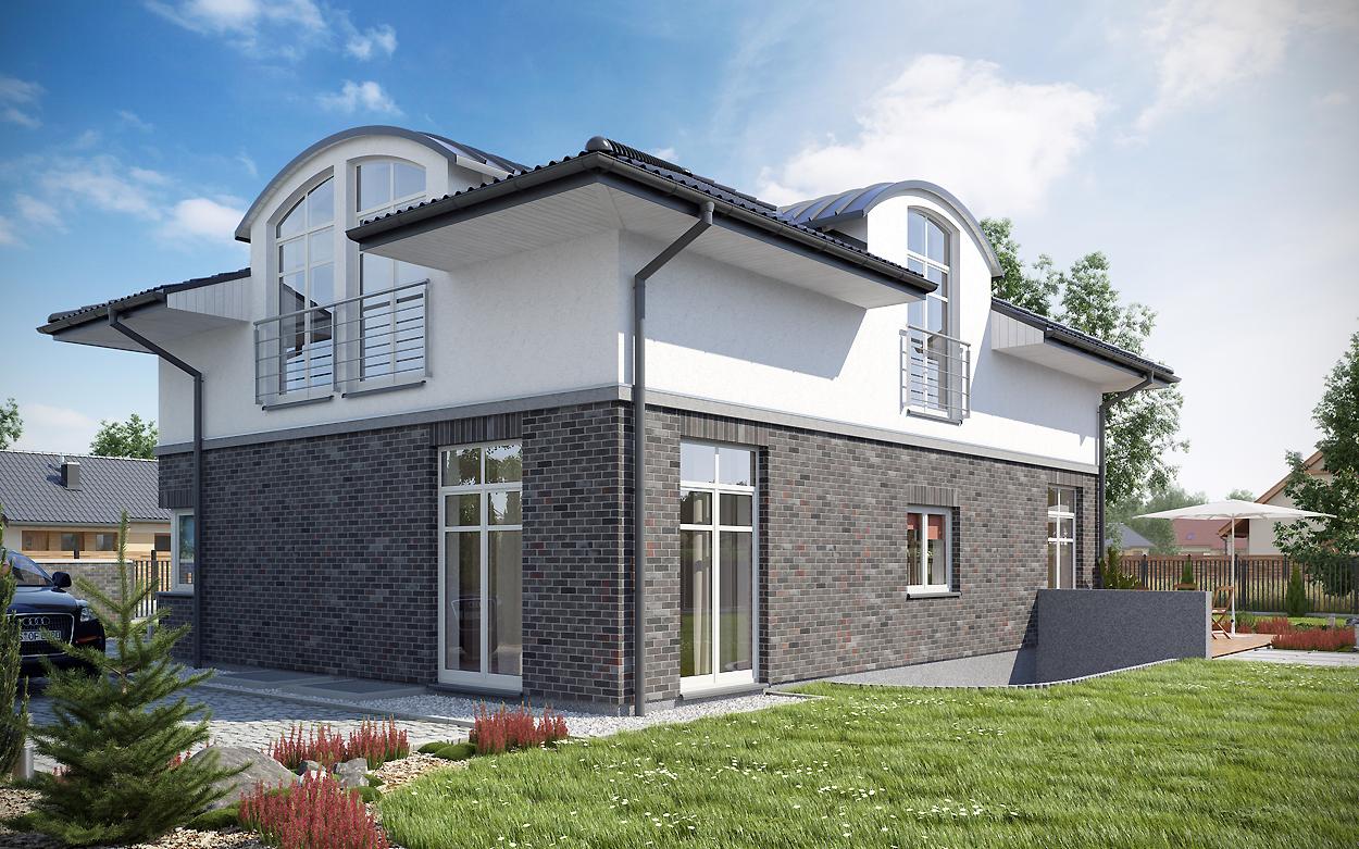 Stadtvilla klinker  Visualisierungen - architekten massivhaus